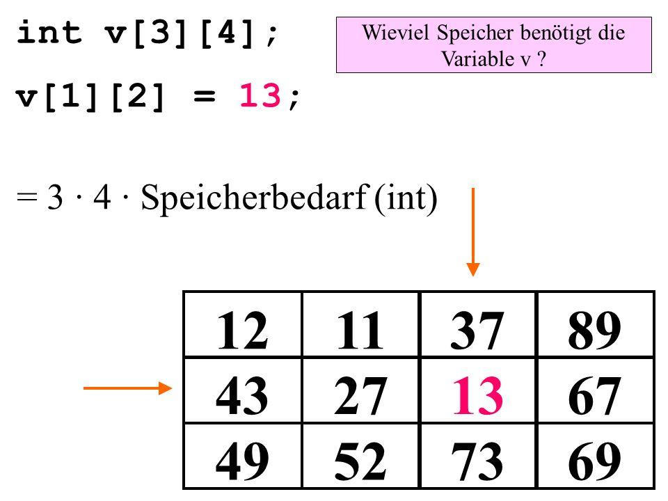 Wieviel Speicher benötigt die Variable v
