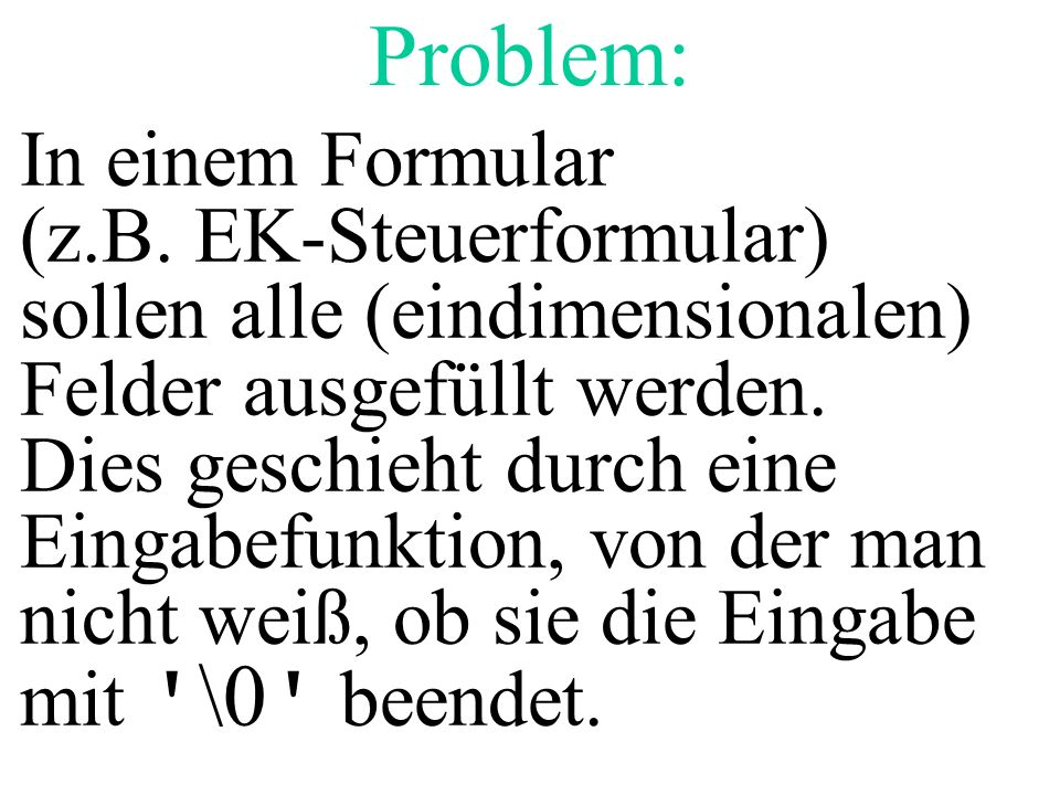 Problem: In einem Formular