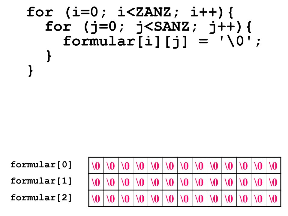 for (i=0; i<ZANZ; i++){ for (j=0; j<SANZ; j++){