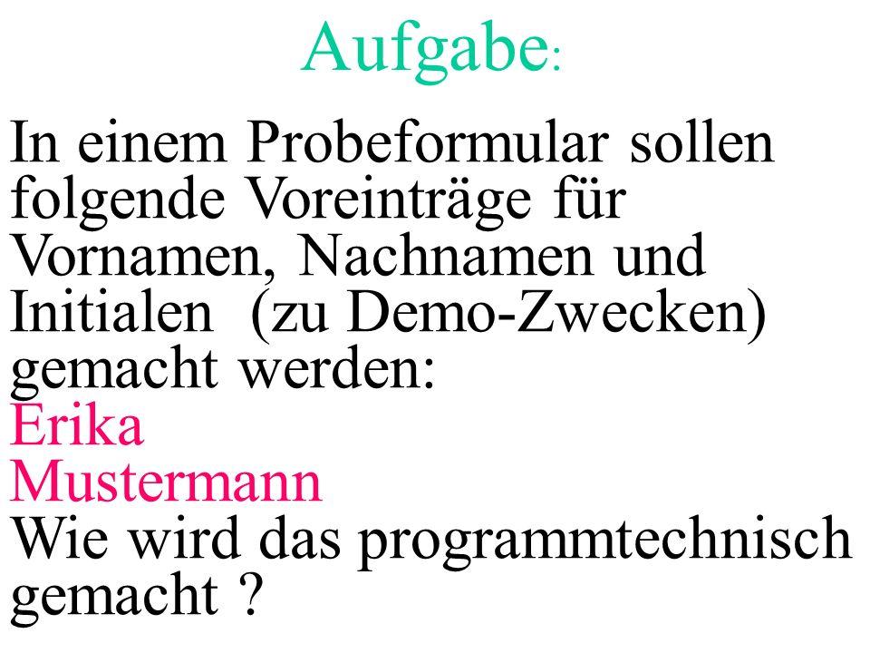 Aufgabe: In einem Probeformular sollen folgende Voreinträge für Vornamen, Nachnamen und Initialen (zu Demo-Zwecken) gemacht werden: