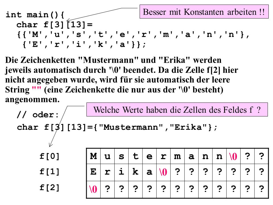 M u s t e r m a n \0 E i k Besser mit Konstanten arbeiten !!