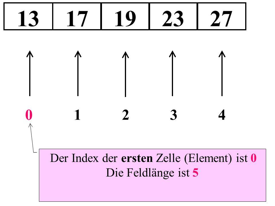 Der Index der ersten Zelle (Element) ist 0