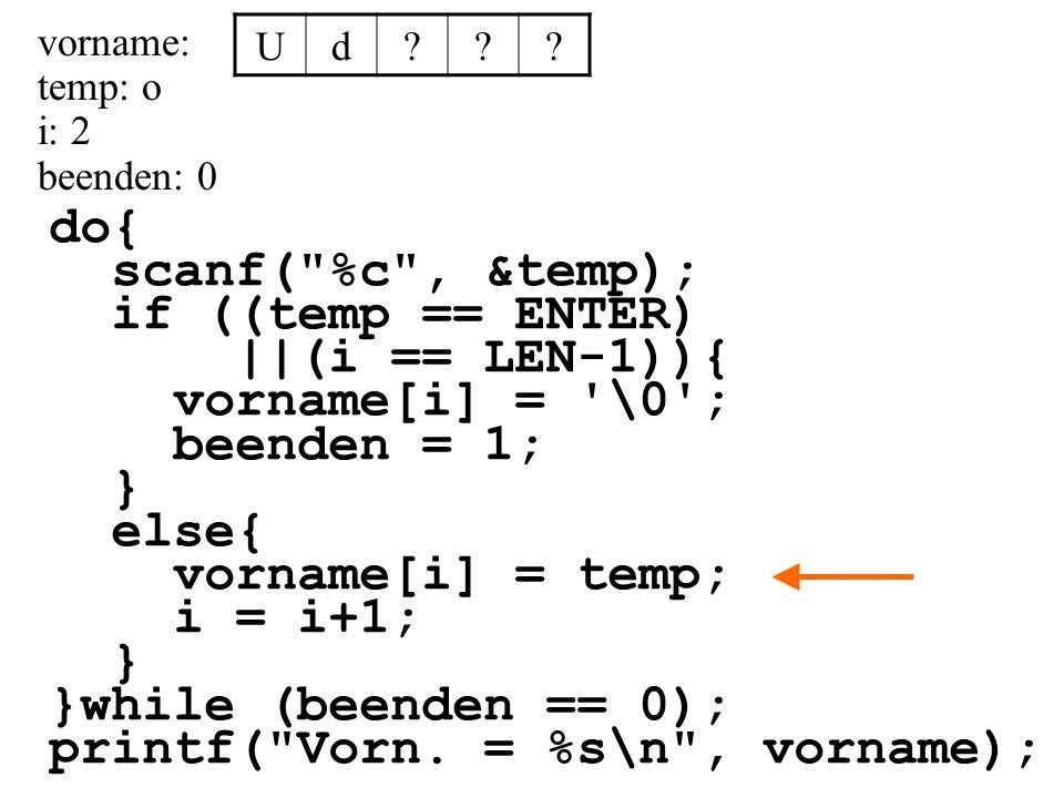 printf( Vorn. = %s\n , vorname);