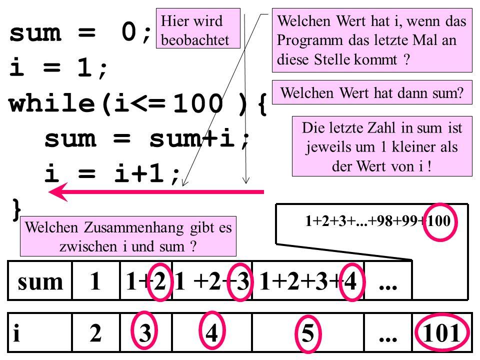 sum = 0; i = 1; while(i<= ){ 100 sum = sum+i; i = i+1; } sum 1 1+2