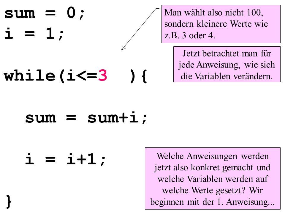 sum = 0; i = 1; while(i<=3 ){ sum = sum+i; i = i+1; }