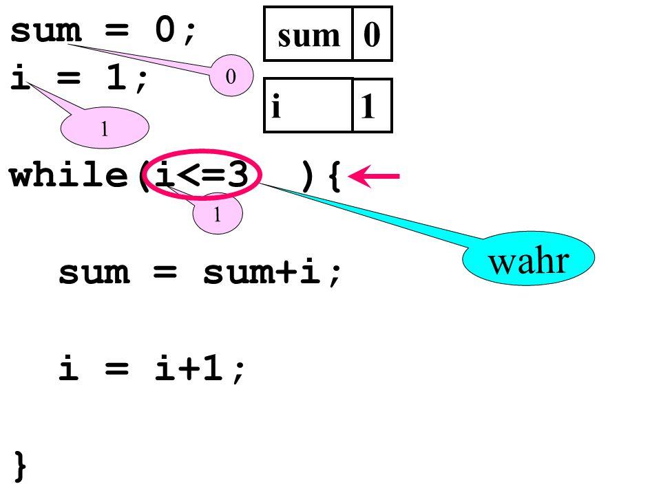sum = 0; i = 1; while(i<=3 ){ sum = sum+i; i = i+1; } wahr sum i 1