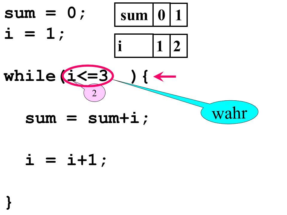 sum = 0; i = 1; while(i<=3 ){ sum = sum+i; i = i+1; } wahr sum 1 i