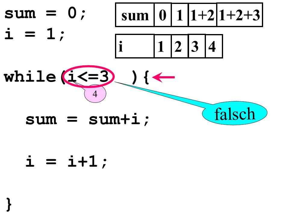sum = 0; i = 1; while(i<=3 ){ sum = sum+i; i = i+1; } falsch sum 1