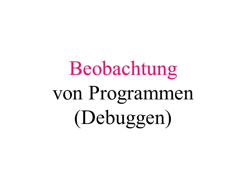 Beobachtung von Programmen (Debuggen)