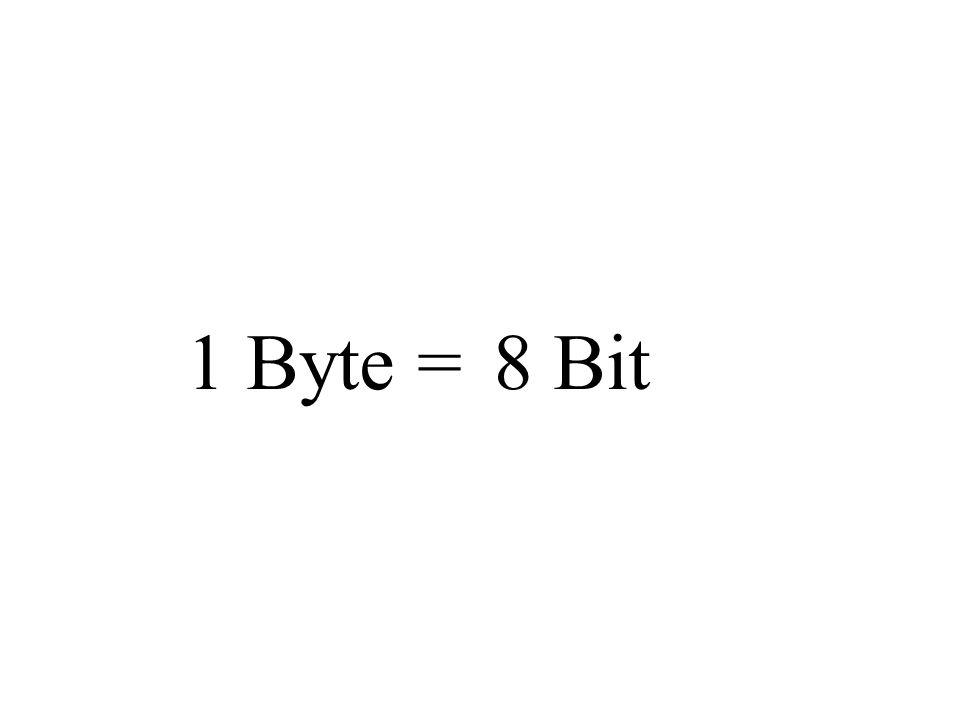 1 Byte = 8 Bit Weiter mit PP.