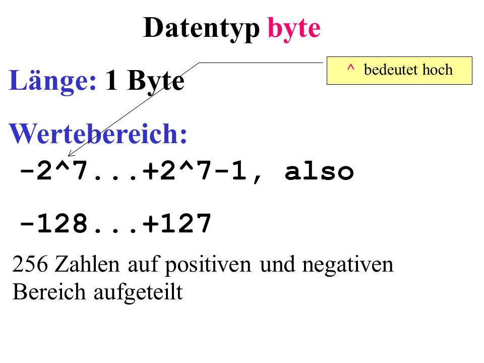 Datentyp byte Länge: 1 Byte Wertebereich: -2^7...+2^7-1, also