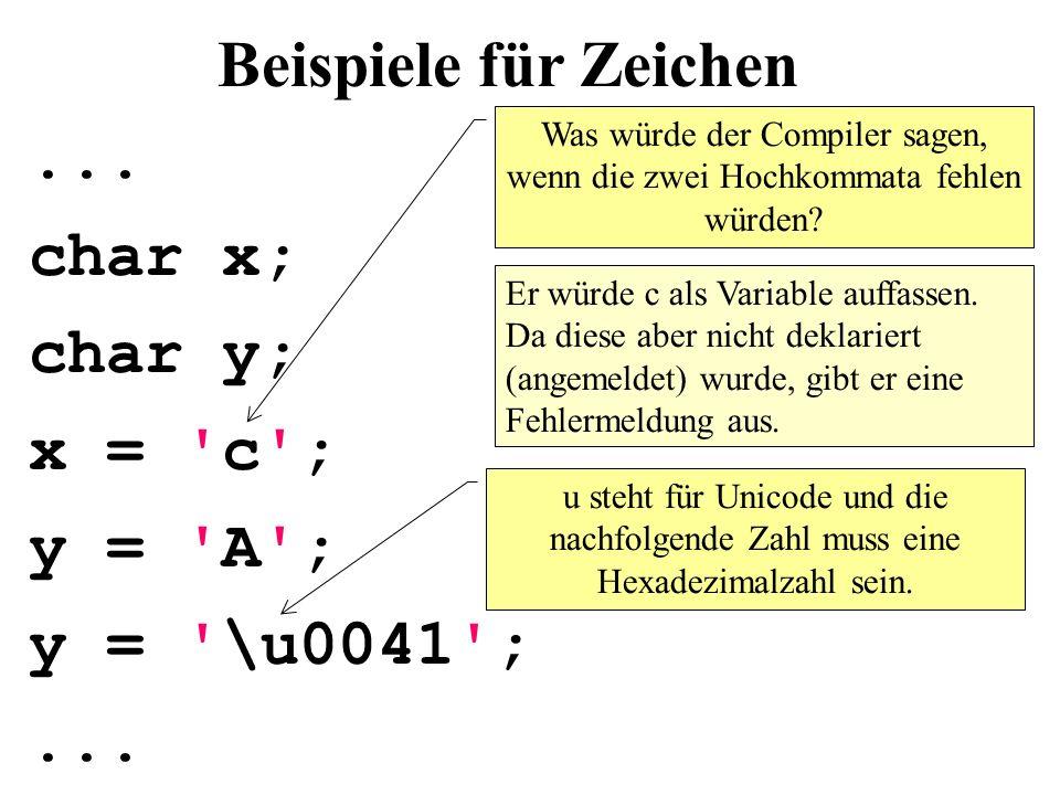Was würde der Compiler sagen, wenn die zwei Hochkommata fehlen würden