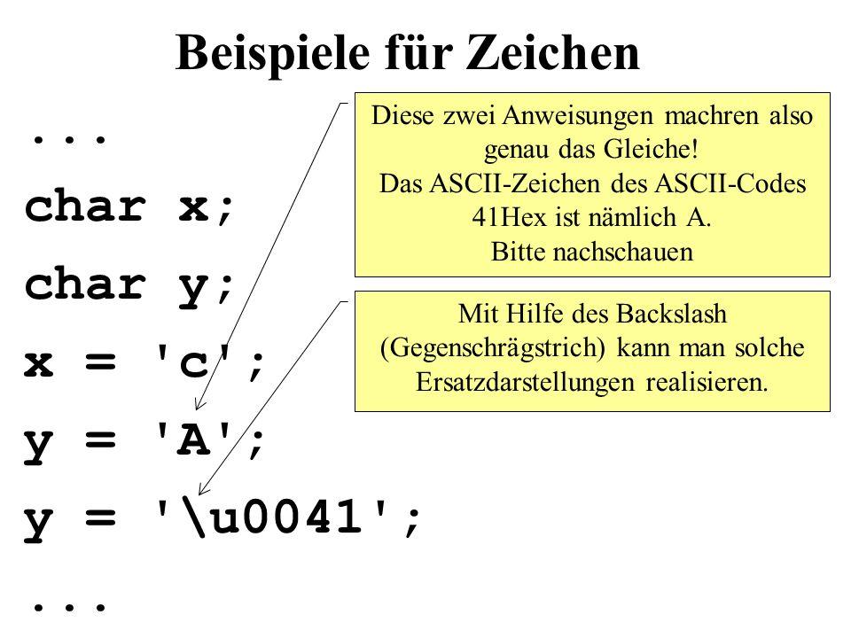 Beispiele für Zeichen ... char x; char y; x = c ; y = A ;