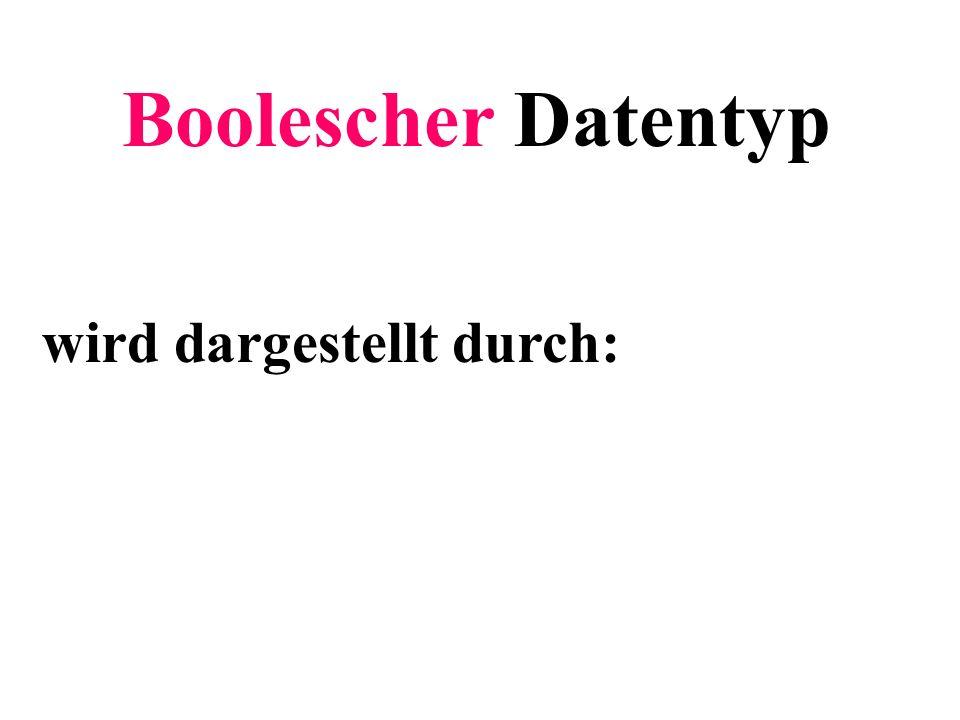 Boolescher Datentyp wird dargestellt durch: Teilziel: