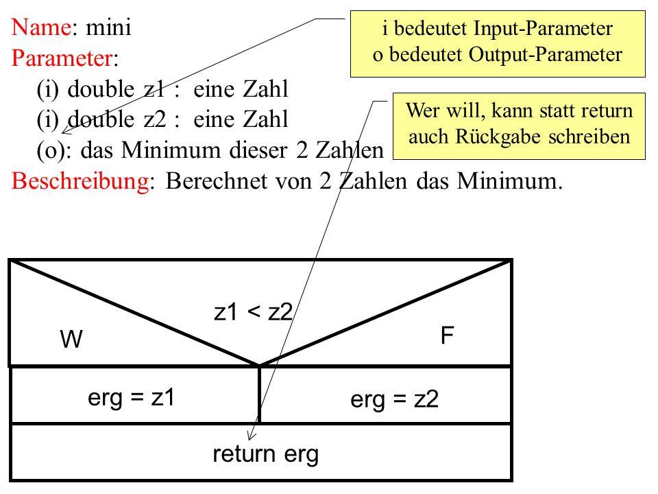 Name: mini Parameter: (i) double z1 : eine Zahl (i) double z2 : eine Zahl (o): das Minimum dieser 2 Zahlen Beschreibung: Berechnet von 2 Zahlen das Minimum.