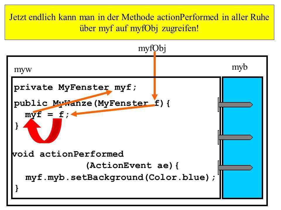 Jetzt endlich kann man in der Methode actionPerformed in aller Ruhe über myf auf myfObj zugreifen!