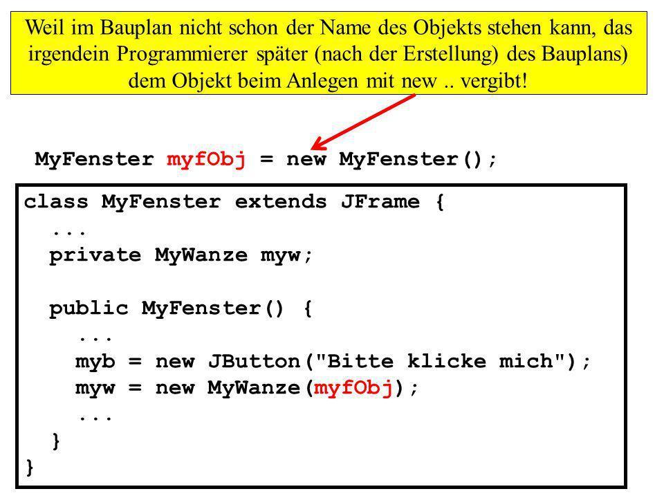 Weil im Bauplan nicht schon der Name des Objekts stehen kann, das irgendein Programmierer später (nach der Erstellung) des Bauplans) dem Objekt beim Anlegen mit new .. vergibt!
