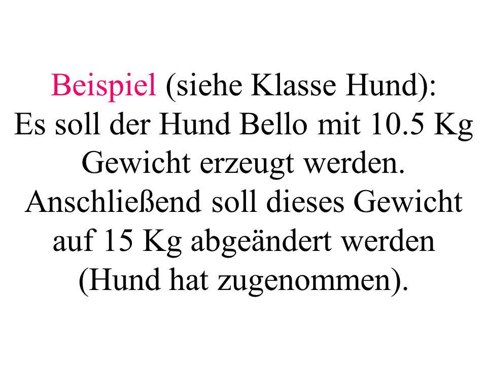 Beispiel (siehe Klasse Hund): Es soll der Hund Bello mit 10