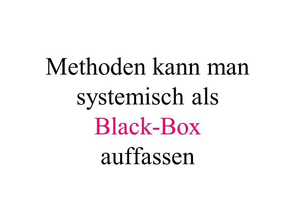 Methoden kann man systemisch als Black-Box auffassen