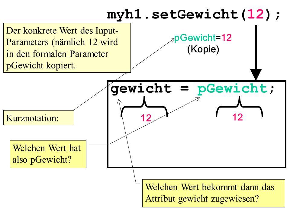 myh1.setGewicht(12); gewicht = pGewicht;