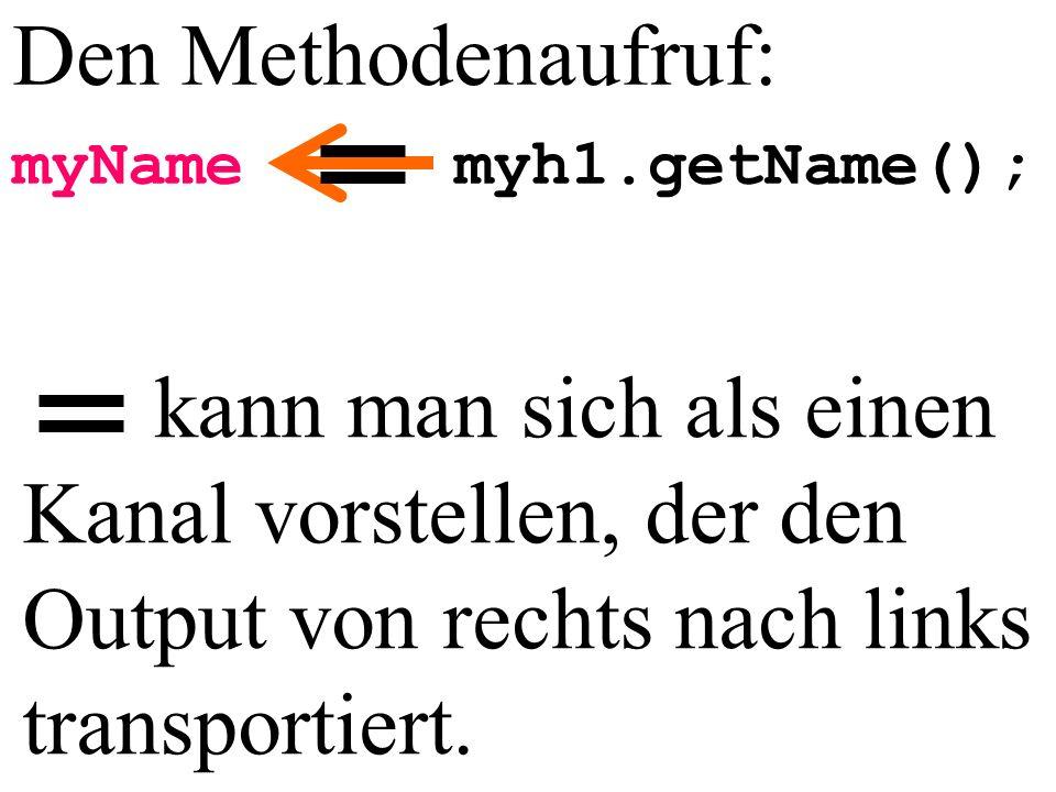 Den Methodenaufruf: myName myh1.getName();