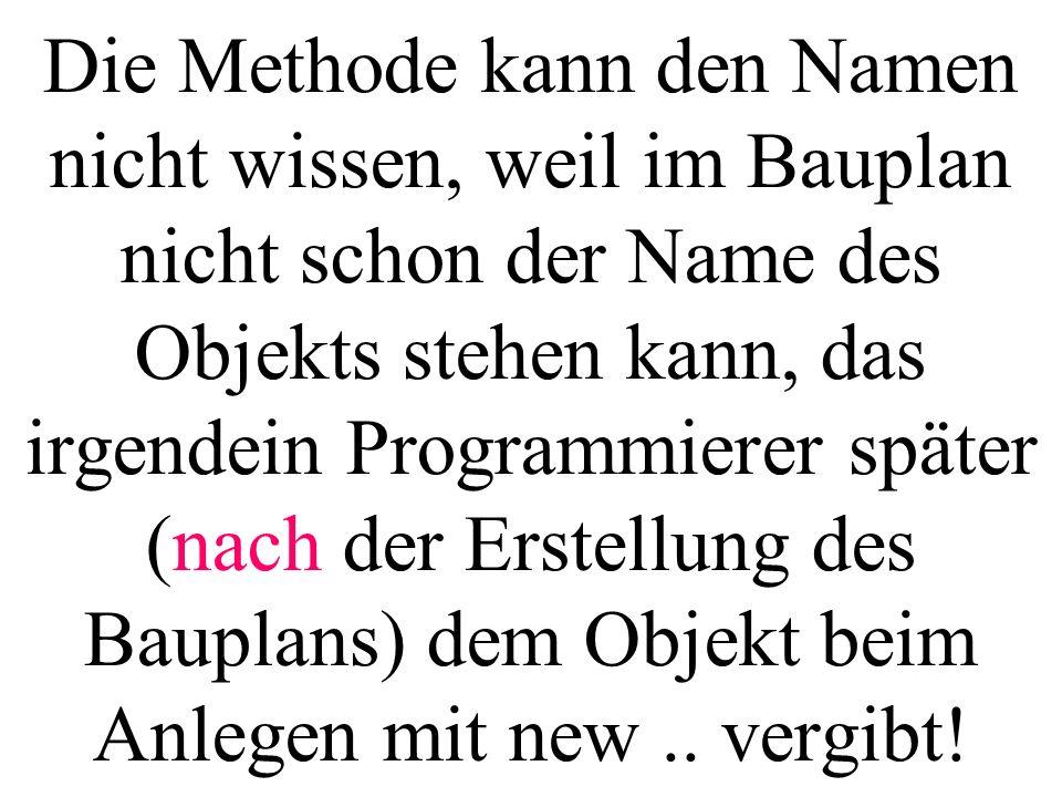 Die Methode kann den Namen nicht wissen, weil im Bauplan nicht schon der Name des Objekts stehen kann, das irgendein Programmierer später (nach der Erstellung des Bauplans) dem Objekt beim Anlegen mit new ..