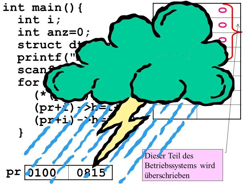 for(i=0;i<anz;i++){ (*(pr+i)).l=i; (pr+i)->b=i+10;