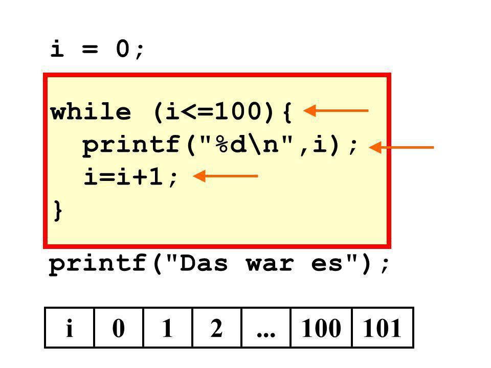 while (i<=100){ printf( %d\n ,i); i=i+1; }
