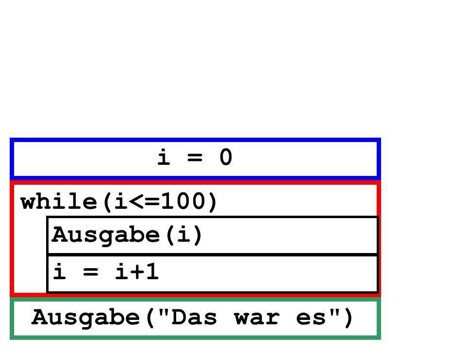 i = 0 while(i<=100) Ausgabe(i) i = i+1 Ausgabe( Das war es )