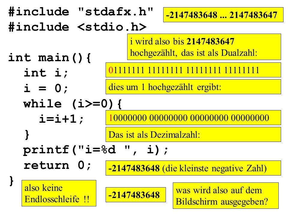 #include <stdio.h> int main(){ int i; i = 0; while (i>=0){