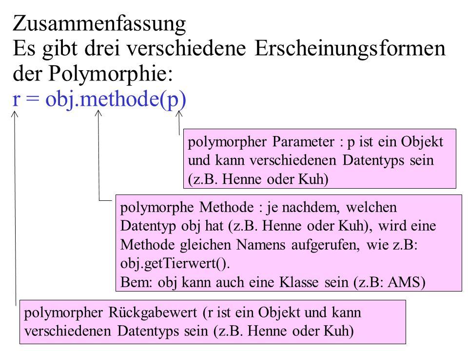 Zusammenfassung Es gibt drei verschiedene Erscheinungsformen der Polymorphie: r = obj.methode(p)