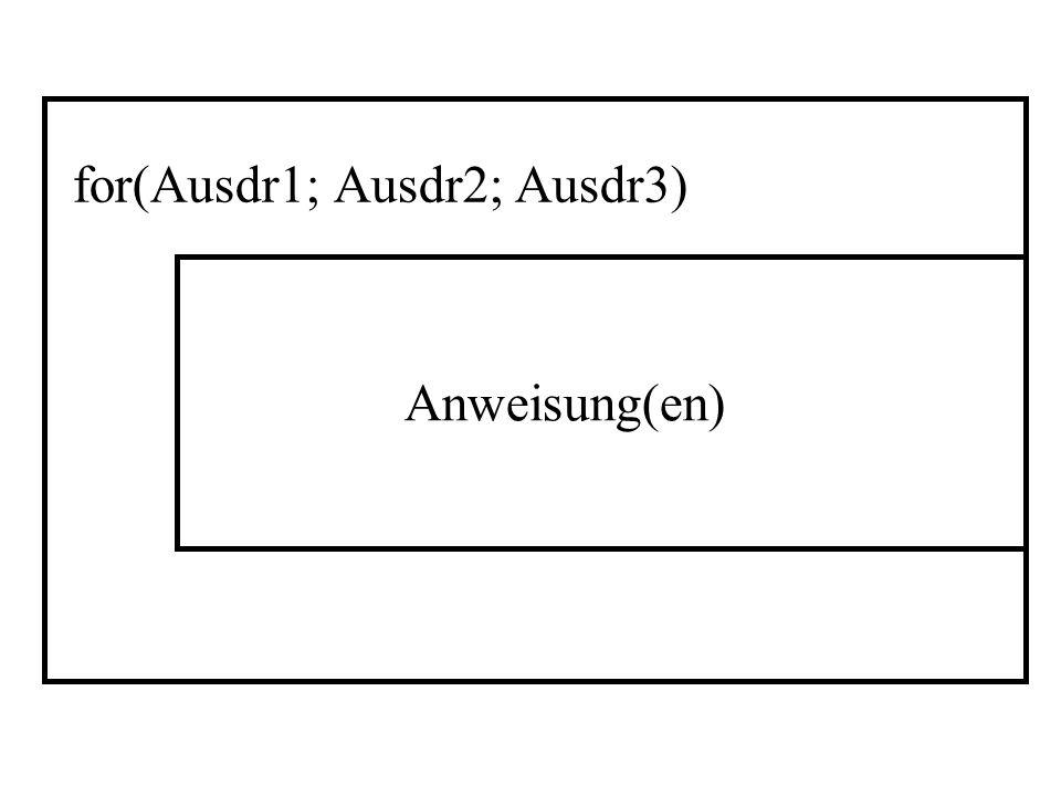 for(Ausdr1; Ausdr2; Ausdr3)