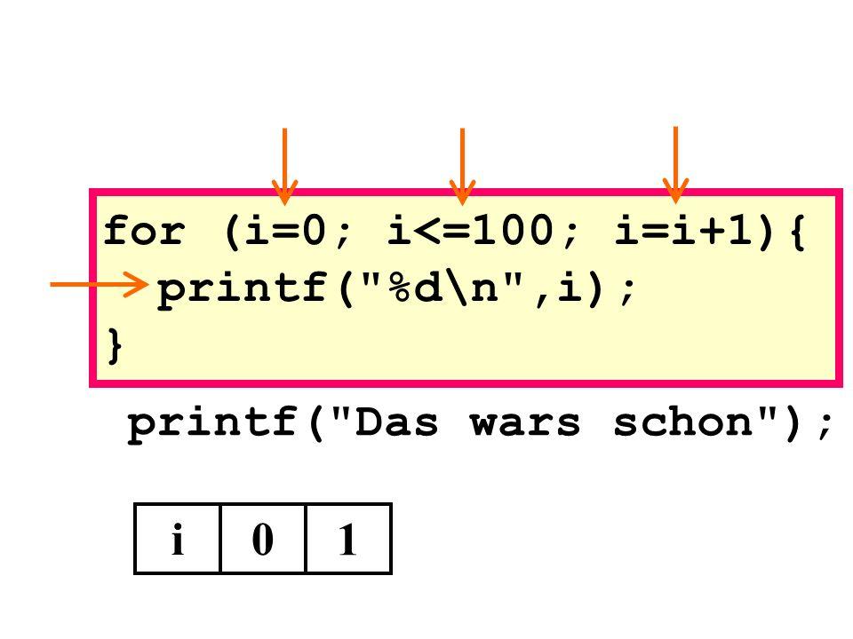 for (i=0; i<=100; i=i+1){ printf( %d\n ,i); }