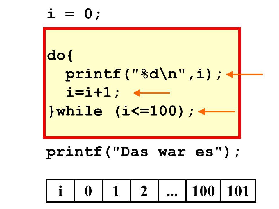 i = 0; do{ printf( %d\n ,i); i=i+1; }while (i<=100); printf( Das war es ); i 1 2 ... 100 101