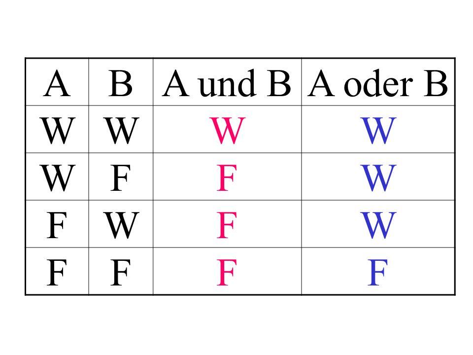 A B A und B A oder B W F