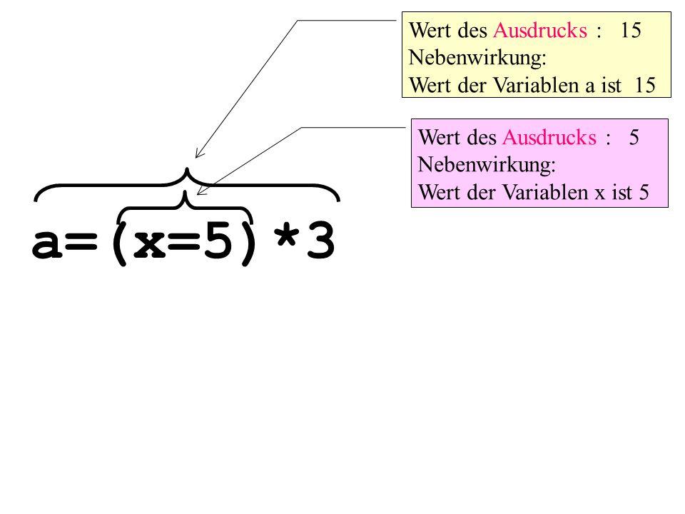 a=(x=5)*3 Wert des Ausdrucks : 15 Nebenwirkung: