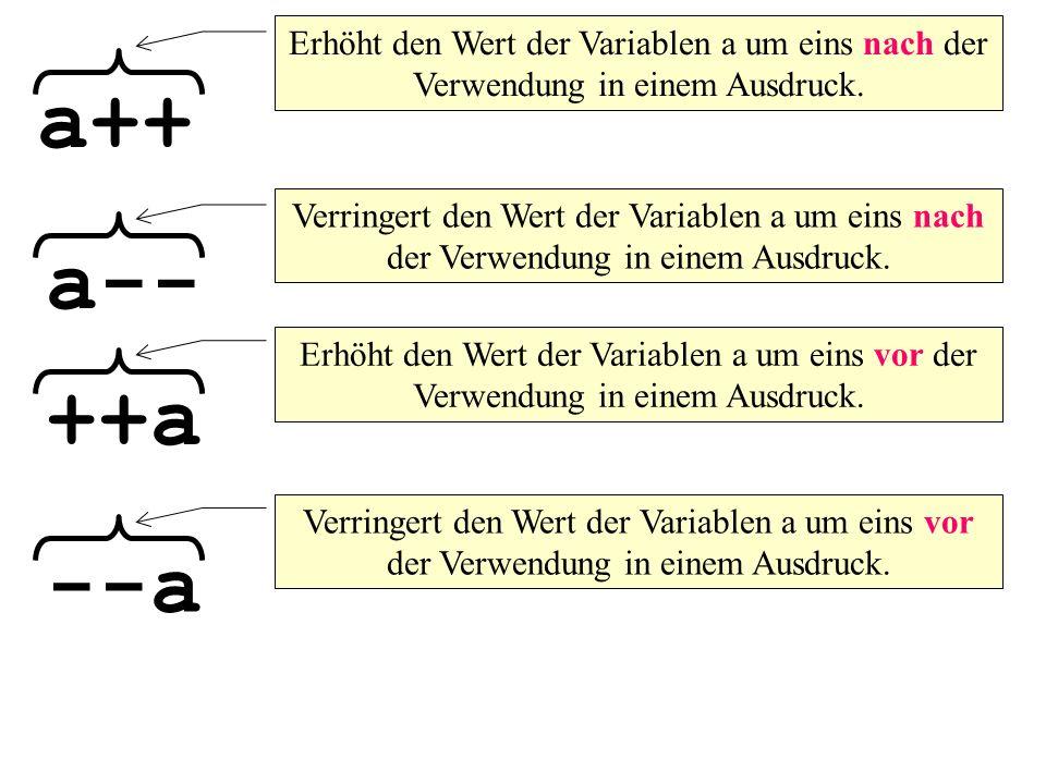 Erhöht den Wert der Variablen a um eins nach der Verwendung in einem Ausdruck.