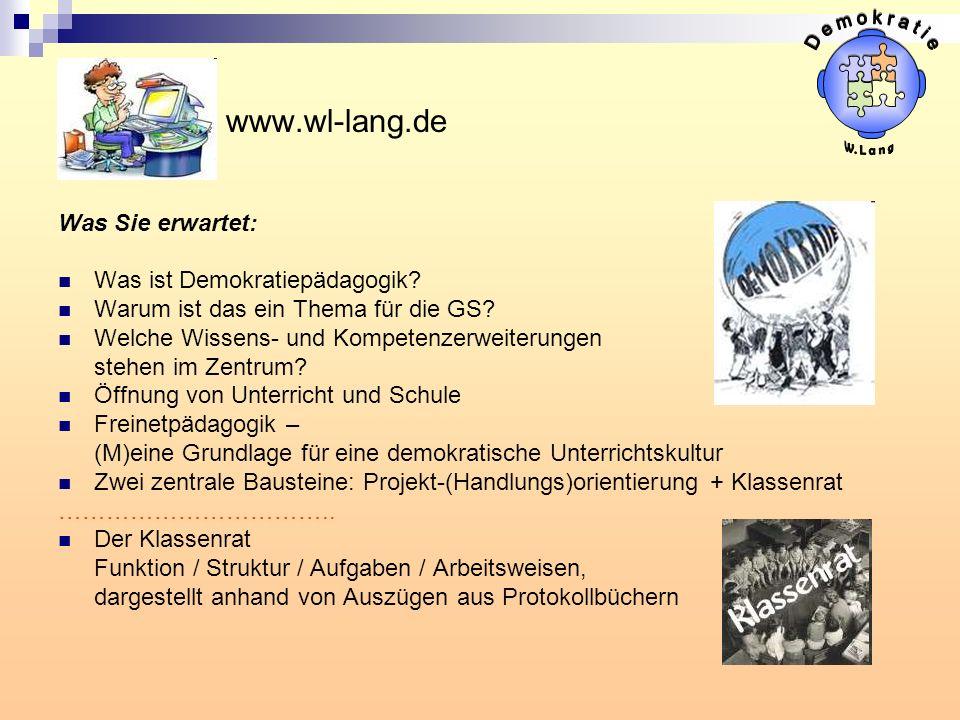 D e m o k r a t i e www.wl-lang.de Was Sie erwartet: