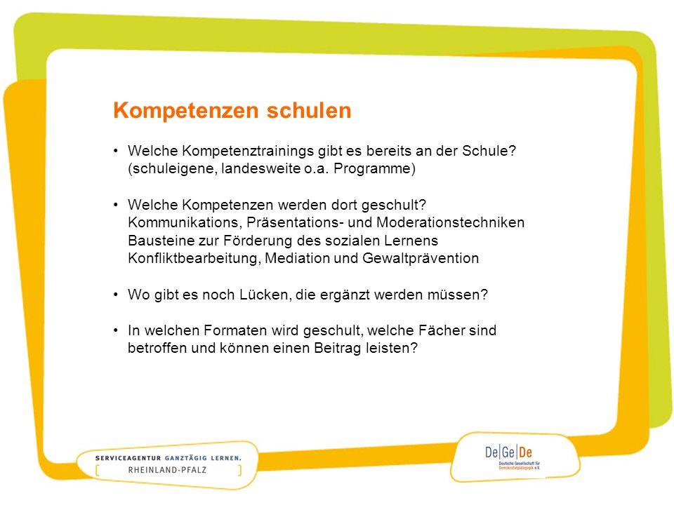 Kompetenzen schulen Welche Kompetenztrainings gibt es bereits an der Schule (schuleigene, landesweite o.a. Programme)
