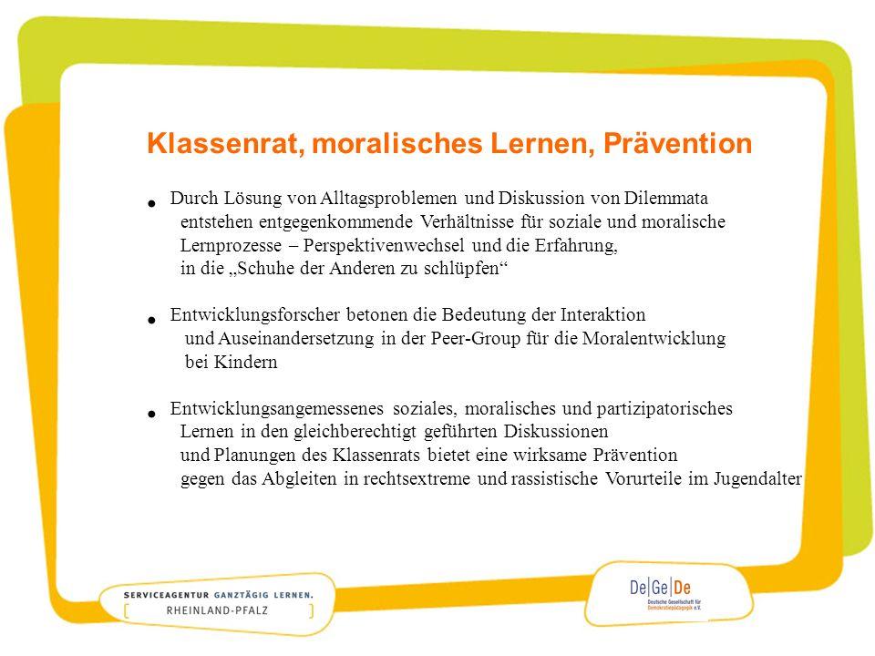 Klassenrat, moralisches Lernen, Prävention