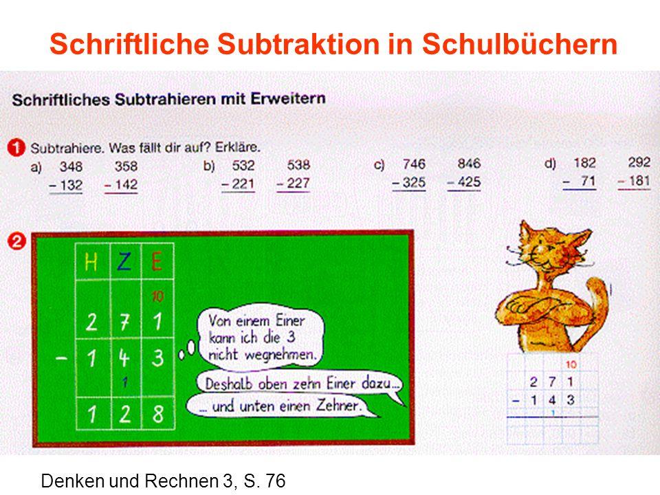 Schriftliche Subtraktion in Schulbüchern