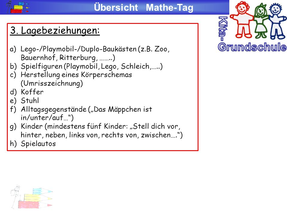 Kita- Grundschule Übersicht Mathe-Tag 3. Lagebeziehungen: