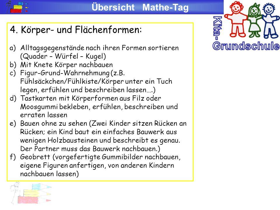 Kita- Grundschule Übersicht Mathe-Tag 4. Körper- und Flächenformen: