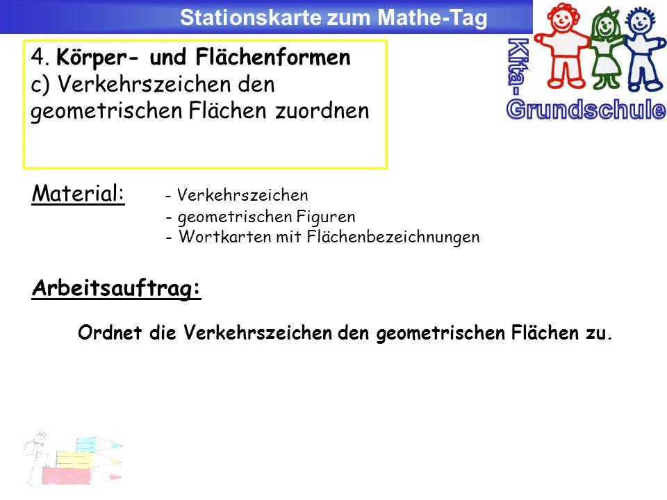Kita- Grundschule Stationskarte zum Mathe-Tag