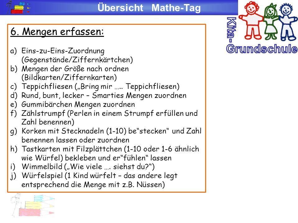 Kita- Grundschule Übersicht Mathe-Tag 6. Mengen erfassen: