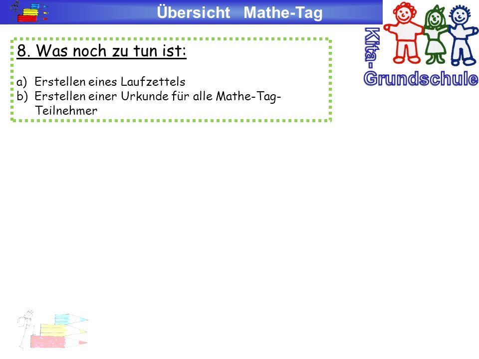 Kita- Grundschule Übersicht Mathe-Tag 8. Was noch zu tun ist: