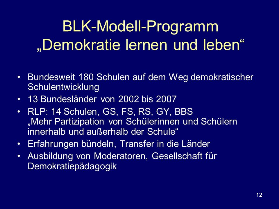"""BLK-Modell-Programm """"Demokratie lernen und leben"""
