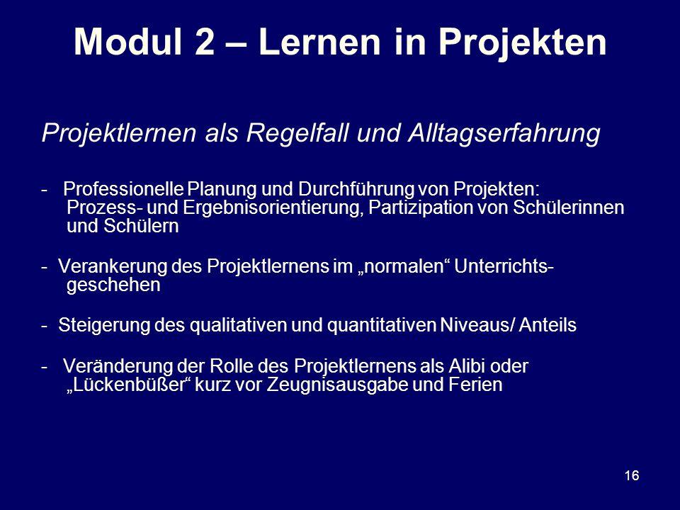 Modul 2 – Lernen in Projekten