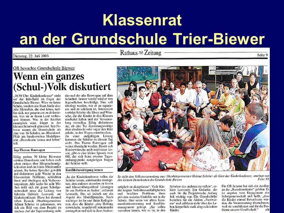 Klassenrat an der Grundschule Trier-Biewer