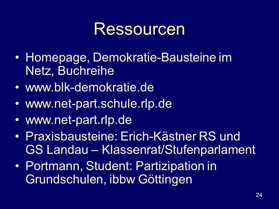 Ressourcen Homepage, Demokratie-Bausteine im Netz, Buchreihe